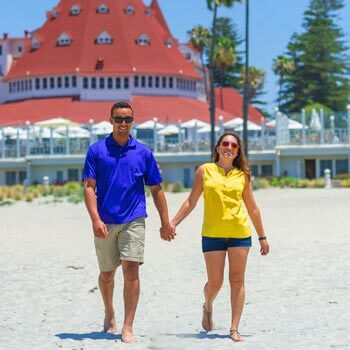 Image of couple walking on Coronado beach San Diego