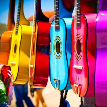 Image of colorful guitars in San Diego