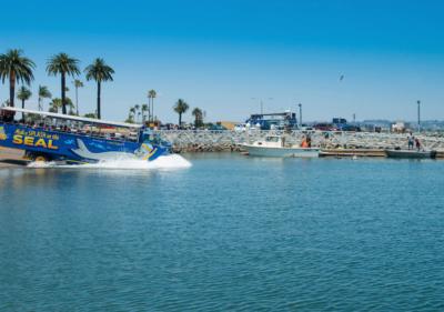 Image of San Diego Tours splashing into the harbor
