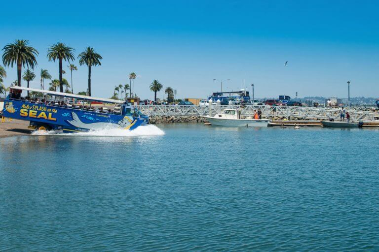 Image of San Diego Tours splashing into the harbor