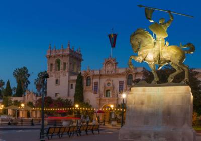 image of balboa park at night