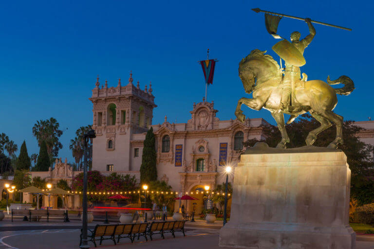 image of balboa park at night