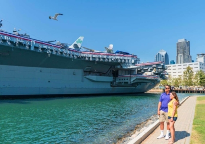 Image of couple viewing USS Midway