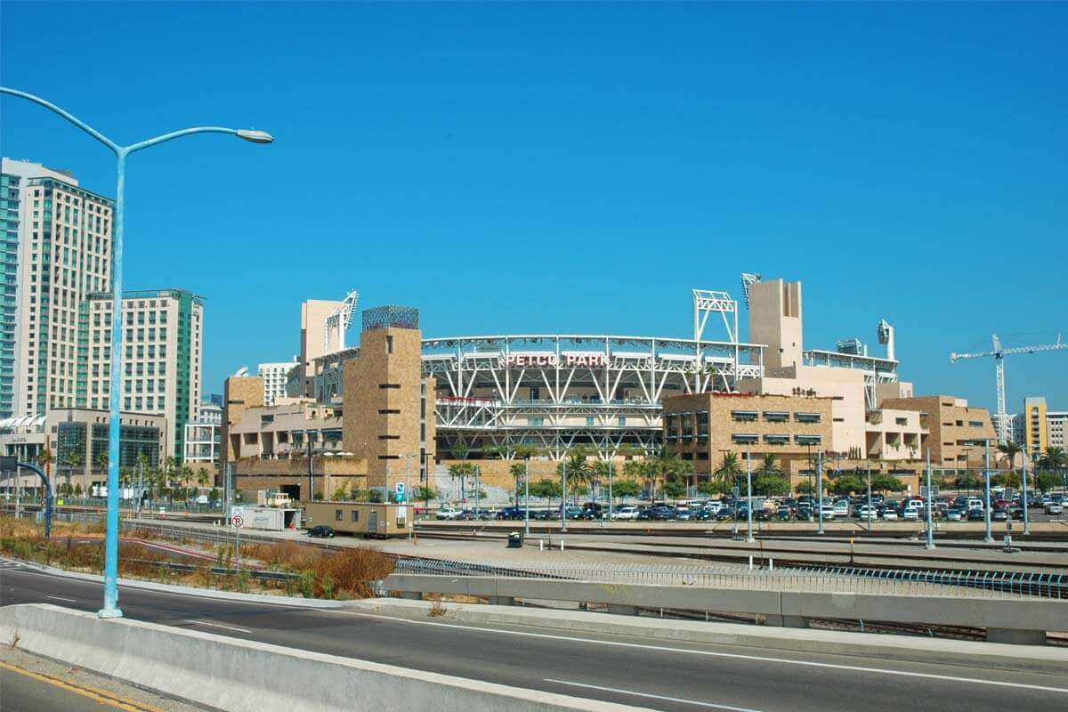 Exterior of Petco Park adjacent to the highway system in Downtown San Diego