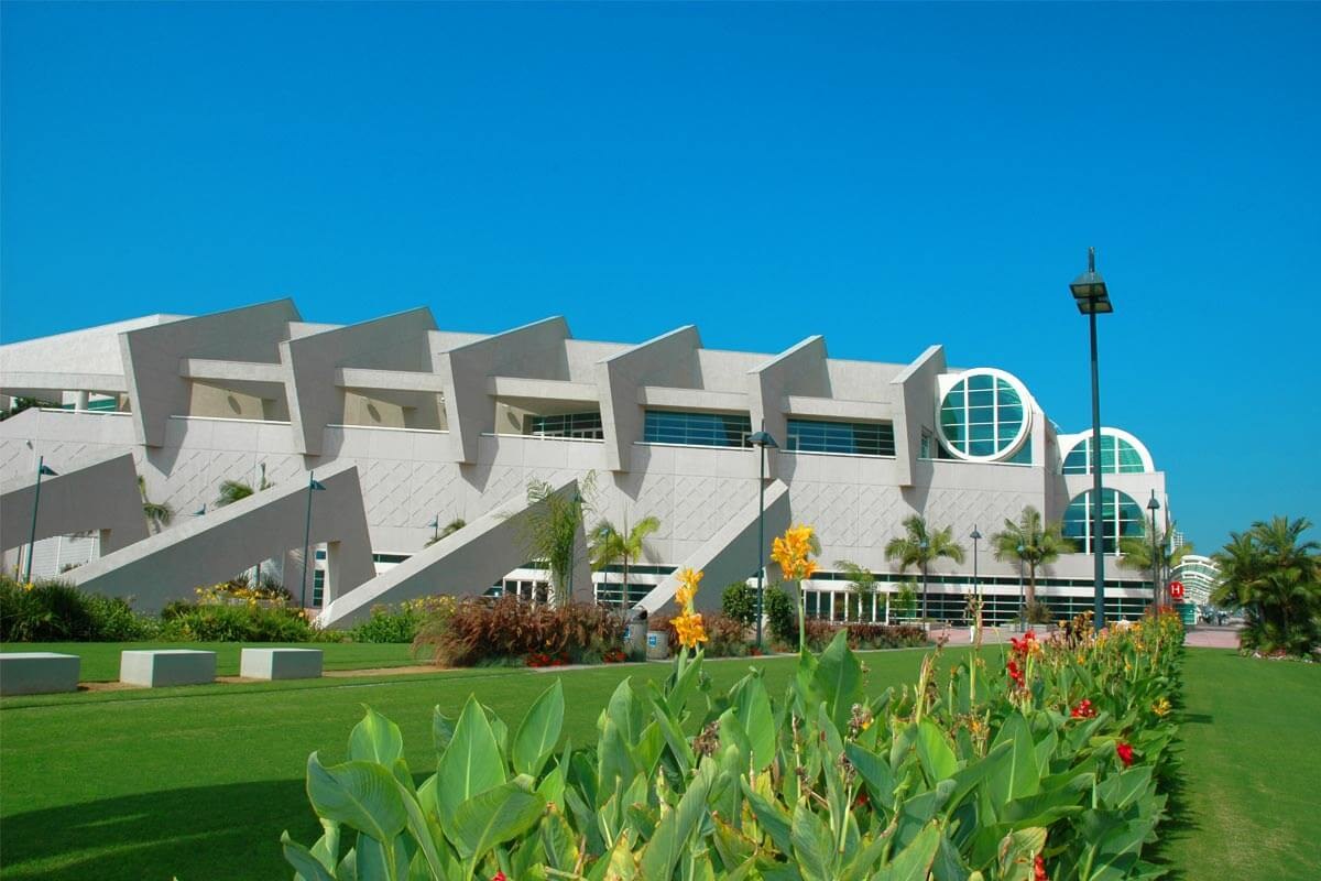 Outside the San Diego Convention Center with its adjacent carefully manicured lawn
