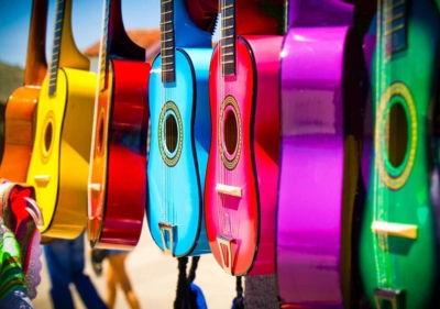 Image of colorful guitars