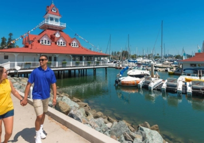 Image of San Diego marina and couple walking
