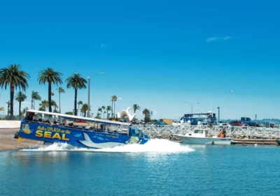 Image of San Diego tour splashing into harbor