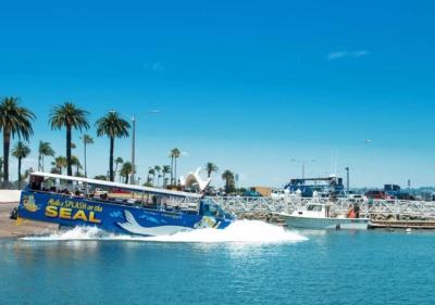 Image of SEAL tour splashing into harbor