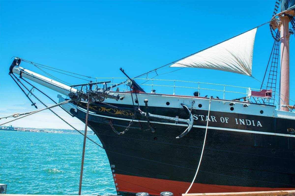 The bow of tall ship Star of India with its large anchor affixed to the side in San Diego