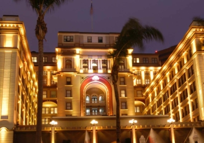 Image of san diego us grant hotel at night