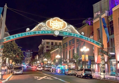 Image of Gaslamp District sign at night in San Diego
