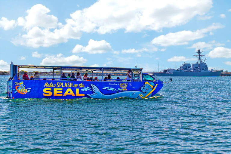 San Diego SEAL Tour vehicle in the water