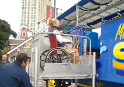 Image of wheelchair and guest boarding the SEAL tour