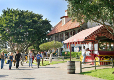 visitors walking at seaport village on a sunny day