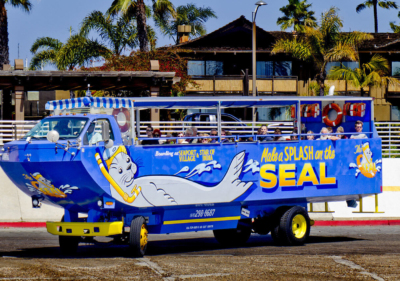 Image of San Diego tour vehicle outside the water