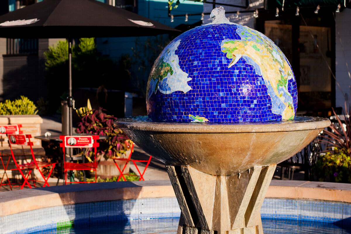 mosaic globe structure at Little Italy San Diego
