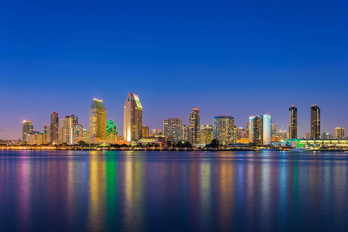 san diego waterfront skyline at night