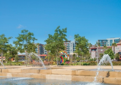 San Diego Waterfront Park fountains on