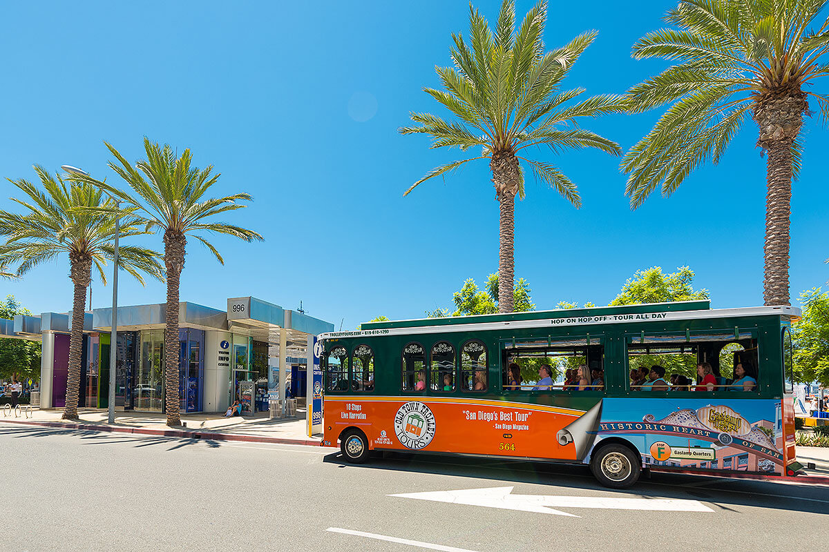 San Diego Old Town Trolley driving past Visitor Center